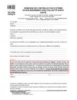 Formulaire de demande de contrôle avant vente